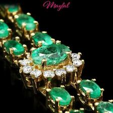 MAYTAL 14K YELLOW GOLD 12.00CT EMERALD 1.50CT DIAMOND BRACELET $10800 CERTIFIED