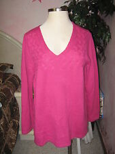BASIC EDITONS Rose Pink V Neck Cable Chest Soft Stretch Knit Sweater 2X NWT