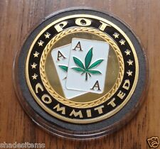 "Poker Chip Coin Card Guard Protector With Plastic Case ""POT COMMITTED"""
