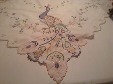 Vintag Square Madeira Work Colourful Peacocks Linen Tablecloth
