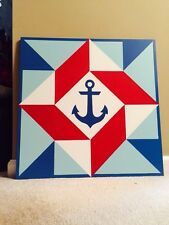 Wooden Barn Quilt 24 inch Patchwork - Nautical Anchor Red