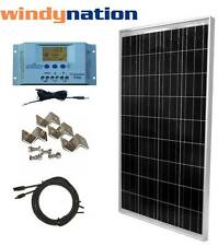 100 Watt 100W  Solar Panel Kit with LCD Solar Controller 12V RV Boat Off Grid