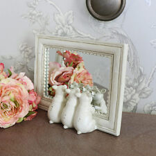 small cream framed little pig standing cream distressed mirror rectangle bath