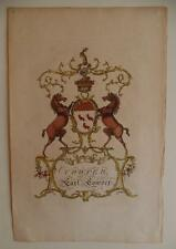 Rare Jacobs Coat of Arms from 1700's for Cowper Family Crest 1766 18th Century