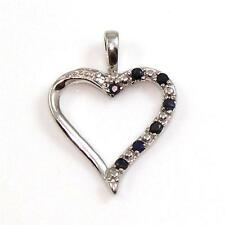 Sterling Silver Diamond Accent Natural Blue Sapphire Heart Pendant