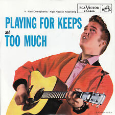 "ELVIS PRESLEY Playing For Keeps & Too Much PICTURE SLEEVE RED VINYL 7"" 45 NEW"