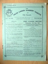 1933 South London Harriers Gazette & Chronicle- FIRST EVENING MEETING, 17 May