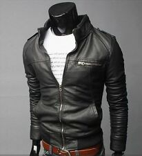 US Seller Slim Fit Mens Fashion Motorcycle Racer Leather Bomber Jacket  PK38