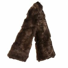 "CHANEL FUR SCARF - LONG 49"" QUILTED BROWN RABBIT REX CC ORYLAG WRAP"