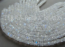 """7"""" half strand AAA RAINBOW MOONSTONE faceted gem stone rondelle beads 5mm - 6mm"""