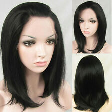 "14"" Heat Resistant Lace Front Wig Natural Short  Straight Black Color"