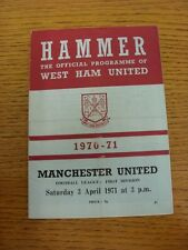 03/04/1971 West Ham United v Manchester United  (Creased, Folded, Match Notes In
