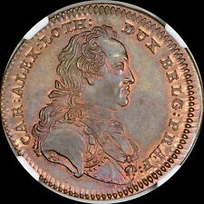 Finest & Only @ PCGS & NGC MS64 1758 Belgium Charles of Lorraine Medal A+ Toned