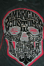 New Womens Affliction American Customs T Shirt Small S Black Skull $58 Retail