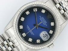 Rolex Datejust Men's Diamond Steel Automatic Watch Oyster Blue Vignette Dial