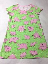 Nick & Nora L Large Green Pink Elephants Roller Skates Nightgown Pjs Pajamas