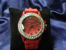 Woman's Geneva Watch with Red Band **Nice ** B31-133