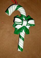 Resin Green/White Striped Candy Cane ChristmasHoliday Ornament - Very Good