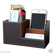 Brown Pu Leather Wooden Desk Storage Box Stationery Organizer Pencils Holder New