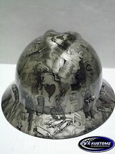 New Custom MSA V-Gard (Full Brim) Hard Hat W/FasTrac Gold High Stakes Pattern