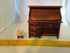 1/12 SCALE ROLL-TOP WOOD DESK VERY NICE UPSCALE PIECE DOLLHOUSE FURNITURE