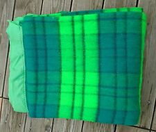 "Vintage Solid Thermal Blanket Neon Green Plaid Sz Queen 72W"" X 84L"" Mint"