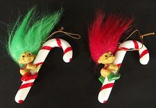 2 TWO ELF CANDY CANE ORNAMENTS Russ Troll Dolls red green new old stock