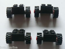Lego old bricks with wheels and tread tires ou anciens essieux avec pneu crante
