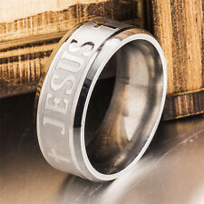 8mm Jesus Christian Cross Prayer Band Wedding Ring Stainless Steel silver Size 8