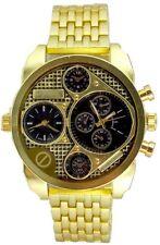 Dual Time Gold Watch Metal Mens Geneva Fashion Designer