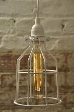 Metal Bulb Guard Cage White Hanging Pendant Light Lamp Industrial Vintage Modern