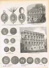 Engravings Banqueting Room Whitehall 20 Shilling Piece Oxford Crown York Half Cr
