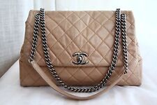 VERIFIED Authentic Chanel Quilted Glazed Leather Accordion Maxi Jumbo Flap Bag