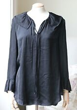 RAQUEL ALLEGRA COTTON BLEND BLACK BLOUSE TOP 3 UK 12