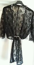 BEAUTIFUL BLACK LACE BOLERO / SHRUG SIZE 14