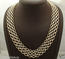 "20"" Technibond Triple Oval Chain Necklace 14K Yellow White Gold Clad Silver"