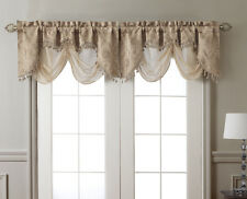 New Elegant Kasbah Taupe Beige Jacquard w Sheer Window Valance Curtain