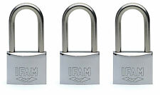 3pcs.IFAM 40mm KEYED ALIKE LONG SHACKLE MARINE PADLOCK. SALT SPRAY TESTED.
