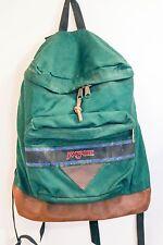 JANSPORT Vtg 90s Leather Bottom Backpack Shoulder Book Bag Green Canvas Retro