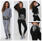 New Womens Ladies Grey Black Contrast Camouflage Loungewear Set Tracksuit 8-26