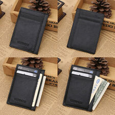 Mens Wallet Money Clip Credit Card Holder ID Business Genuine Leather Mini Purse