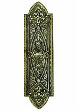 "10"" Brass Beaded Gothic Fingerplate – antique period finger plate push plates"