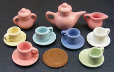 1:12 Scale Ceramic 15 Piece Multi Coloured Dolls House Miniature Tea Set 2182