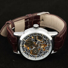 TOP Orient Arts Hollow Carved Dial Leather Automatic Mechanical Mens Watch Reloj