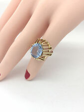 Ladies Oval 12 x 10 mm 6 Carat Blue Topaz 14K Vintage Basket Yellow Gold Ring
