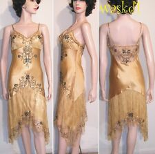 SUE WONG gold 6 SATIN and LACE sequined Asymmetric hem Salsa dress NEW Authentic