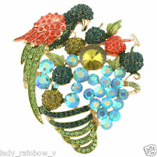 Showy Parrot Apple Grape Banana Cherry Fruit Brooch Pin Multi Rhinestone Crystal