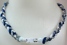 "NEW! 20"" Custom Clasp Braided Sports Navy Blue Gray White Grey Tornado Necklace"