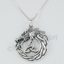 DRAGON eating TAIL serpent Celtic Ouroboros Pendant Necklace 925 Sterling Silver