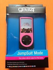 New Gear4 Jumpsuit Mode Pink Black Silicone Case Cover for iPod Nano 4 & Lanyard